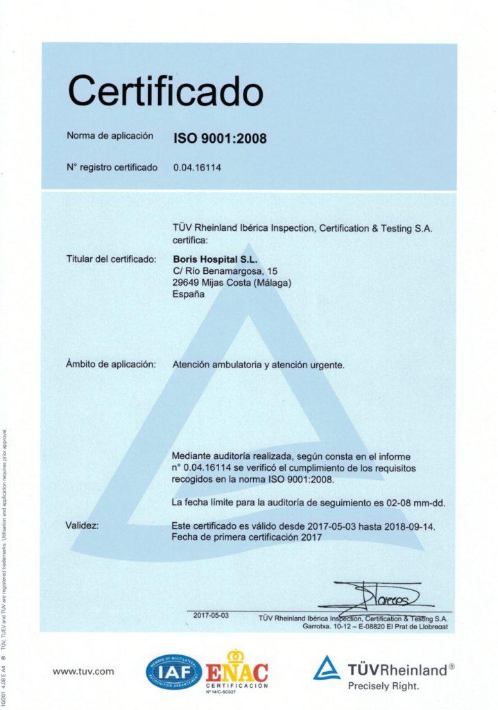 Клиника «Борис» получила наивысший сертификат стандарта качества для медицинского учреждения ISO 9001